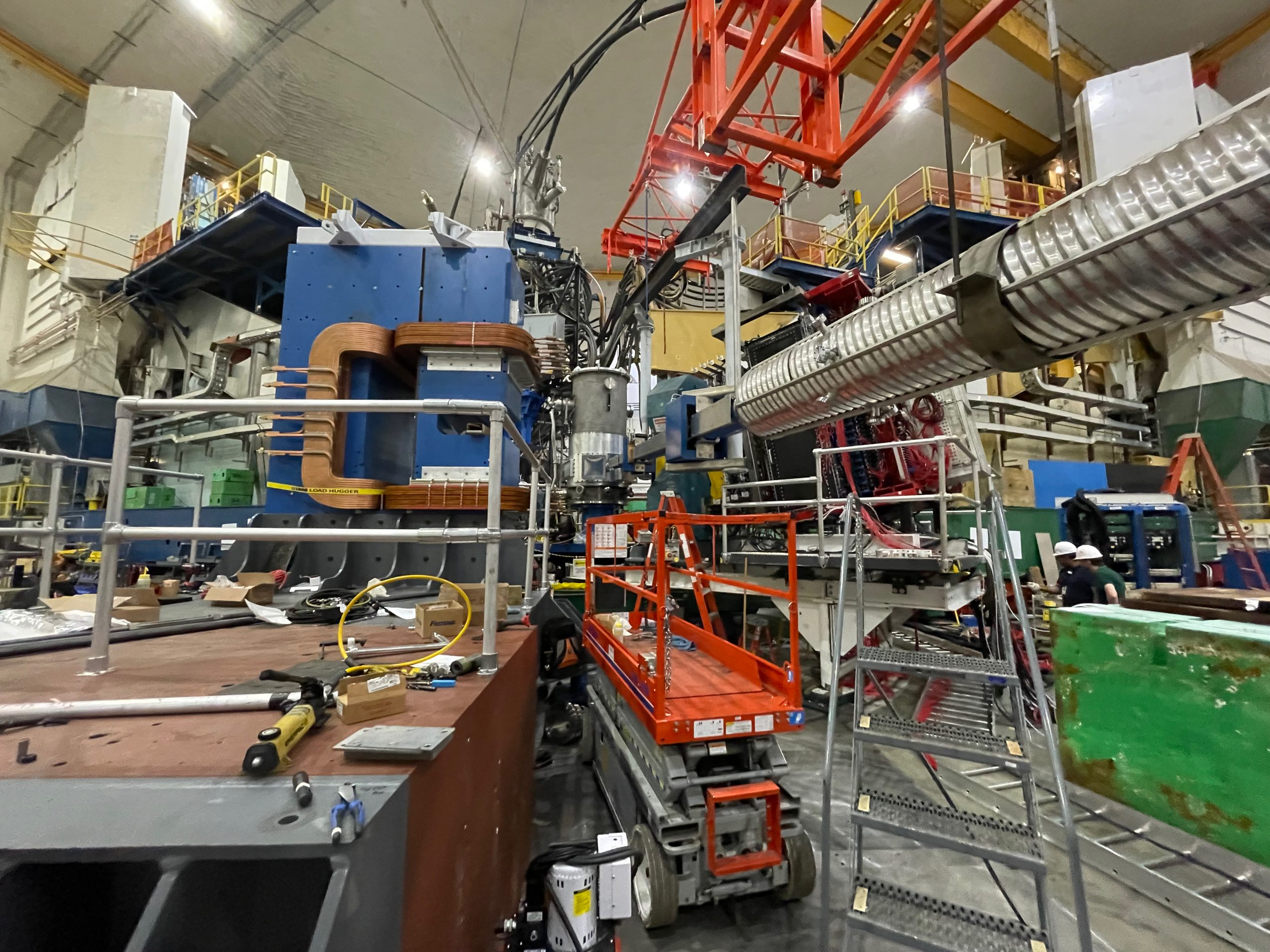 View of downstream beam pipe and scattering chamber from beam left